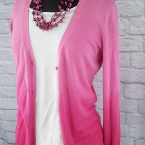 Ombre Hot Pink Sweater Cardigan Button Down V-Neck